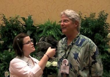 Mandy Maxwell from FSN interviewing Patrick Berry, Upcoming Texas State Florists Association VP