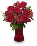 Send Blood Red Roses In A Red or Black Vase