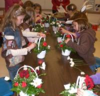 Brownie Girl Scouts Learning Floral Design