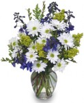See how blue delphinium makes this arrangement pop?