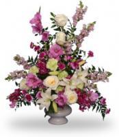 """Magenta Sunset Urn"" Funeral Flowers"