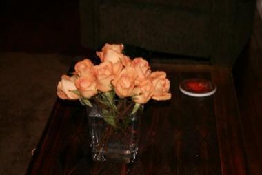 Roses in Square Vase