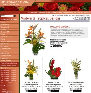 Modern & Tropical Designs - Florist eCommerce Page