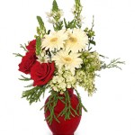 Crimson and Cream Bouquet of Fresh Flowers