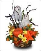 Halloween Arrangement with Ghosts & Pumpkin