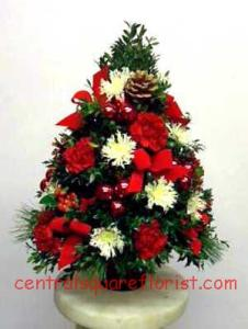 holiday tree centerpiece christmas flower arrangment