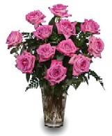 Vase of 12 lavender roses with leather leaf