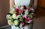 Wedding Bouquet With Stargazer Lilies and White Roses