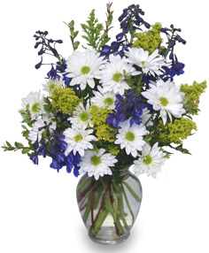 Lazy Daisy and Delphinium Flower Arrangement