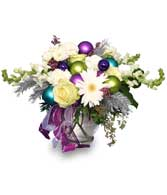 New Years Flower Arrangement with white flowers and colored balls