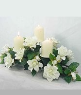 Wedding Centerpiece With Permanent White Flowers, Foliage and Candles