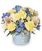 New Baby Bouquet in Blue Container for Boy