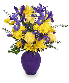 """Mardi Gras"" Flower Arrangement"