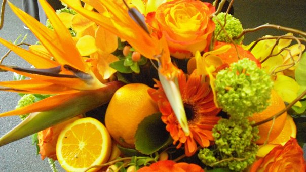 Fruit & Flowers Arrangement From Apple Blossoms Floral Design
