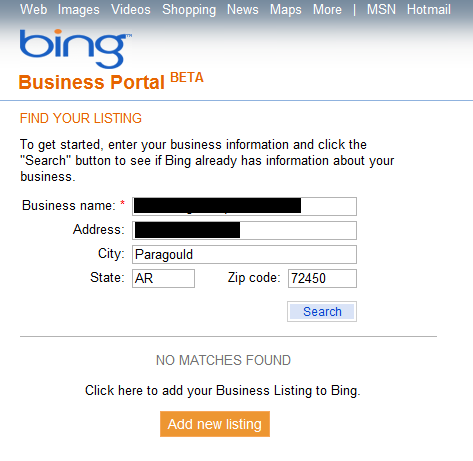 Claiming Bing Listing - Logging In