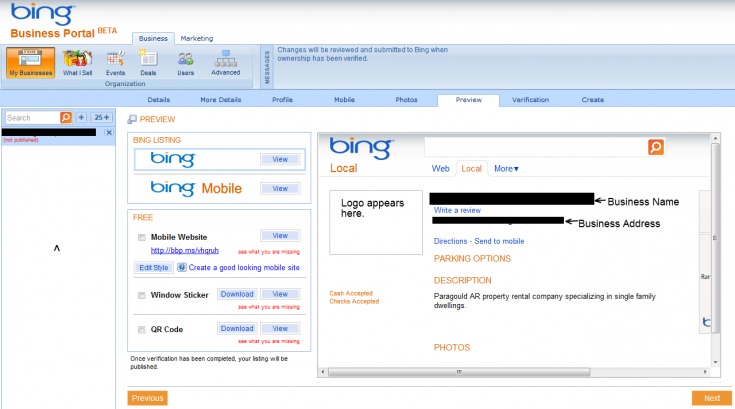 Bing Sign up - Preview