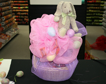 Deco Poly Mesh Ribbon Easter Basket