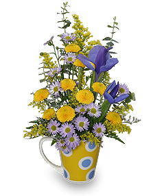 """Cup O' Cheer"" Spring Flowers Bouquet from Flower Shop Network."