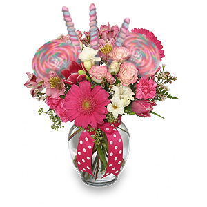 Pink Flowers With Candy