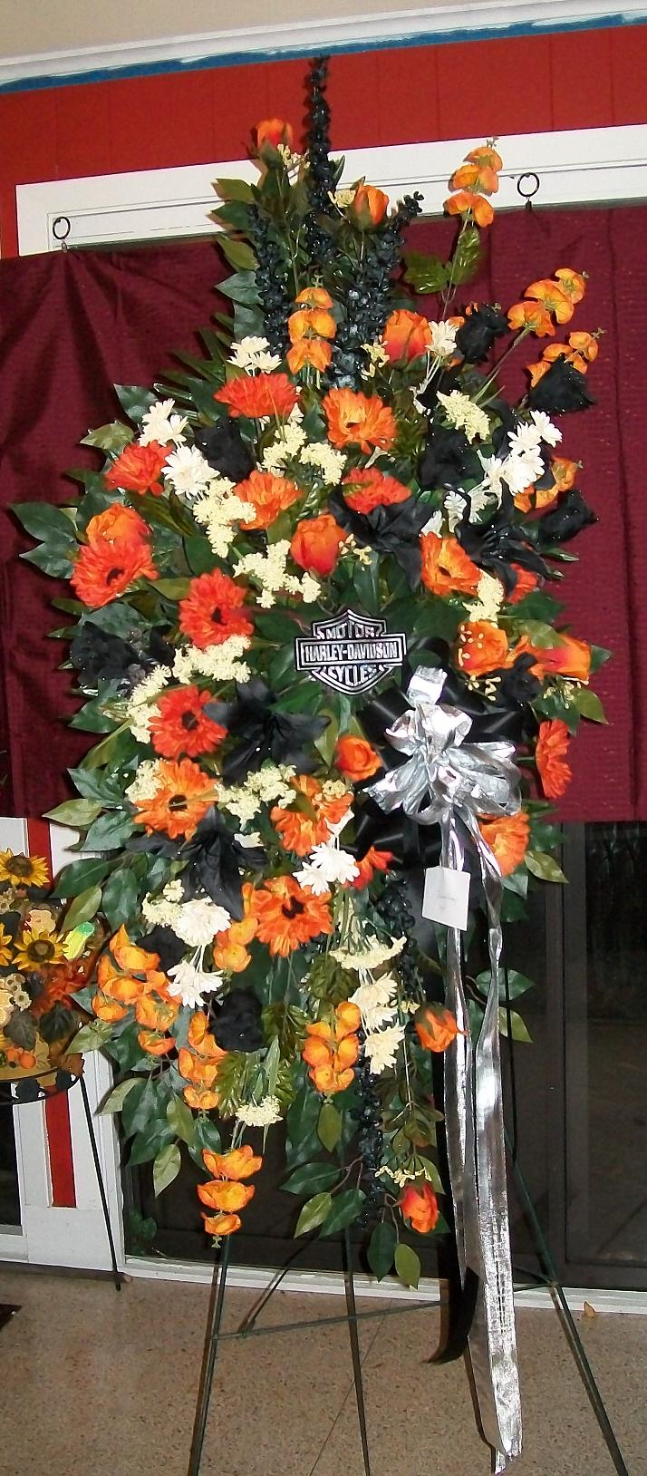 Above beyond the quest for perfect personalized funeral flowers harley davidson theme funeral spray izmirmasajfo Image collections