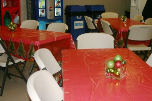 Almost Lunch Time (Complete With Christmas Ornament Centerpieces)