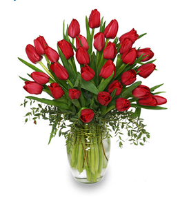 Cherry Red Tulup Arrangement