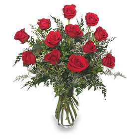 Classic Red Roses Arrangement For Valentines Day