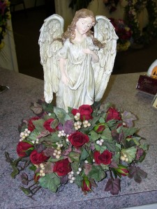Angel Statue Funeral Flowers