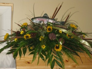 Trout Fisherman Funeral Flowers