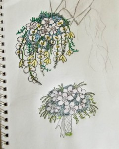 Royal Wedding Bouquet Sketches Sketched by Shannon of Flourish, Sacramento CA