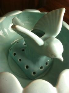 Decorative Ceramic Flower Frog With Bird