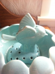 Decorative Ceramic Flower Frog With Bird