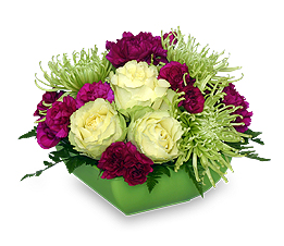 Green and Ruby Red Flower Arrangement