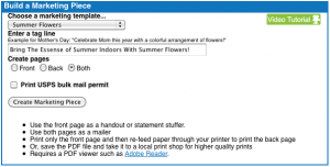 Direct Mail Generator from Flower Shop Network
