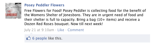 Posey Peddler Flowers For Food Facebook Announcement