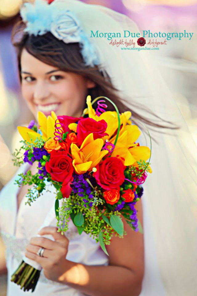 Colorful Wedding Bouquet This fun and funky bouquet was created by Ashlee 39s
