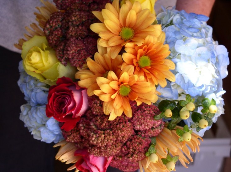 Fresh Flowers Fall Wedding Bouquet