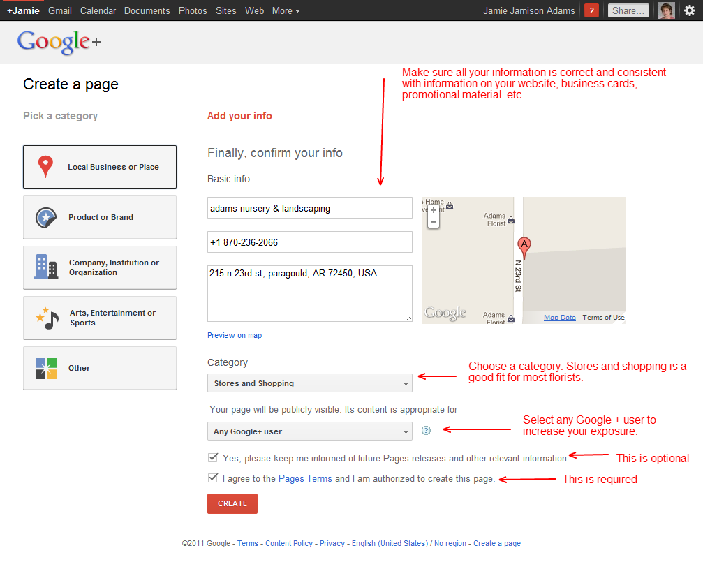 how to set up google plus page