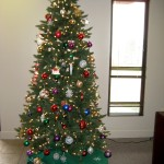 Christmas tree by the front entrance.