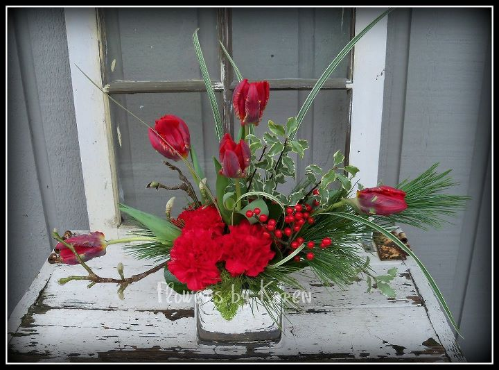 Red Tulip Christmas Flower Arrangement