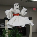 Paper angel hanging on the tree in our technology department