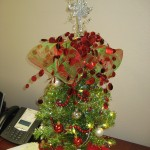 Tiny Christmas Tree on the desk of our office admin, Jackie!
