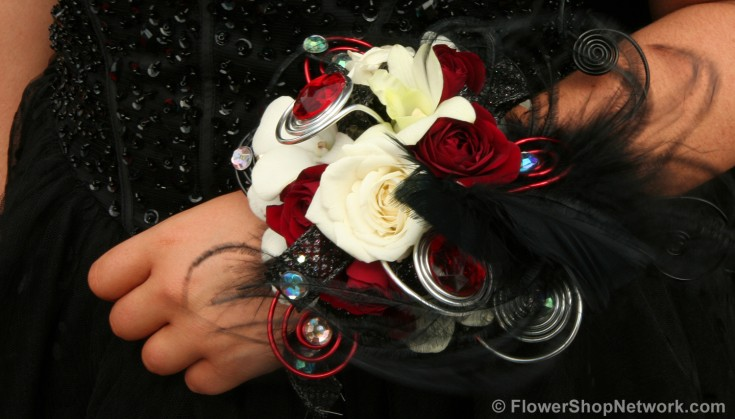 Black & Red Prom Corsage