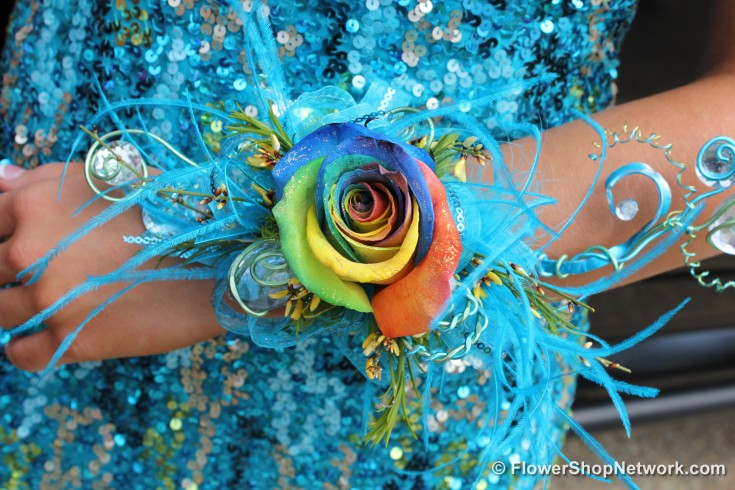 Blue Prom Corsage