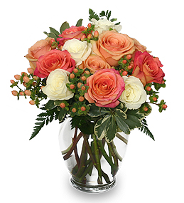 Peach & White Roses For Mom
