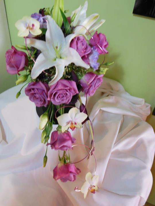 Wedding bouquet by Back To The Fuchsia, Saugatuck, MI
