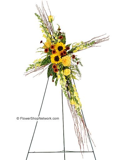 """Sunflowers of Faith"" Standing Spray Example"