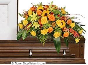 """Seasonal Reflections"" Casket Flowers Example"