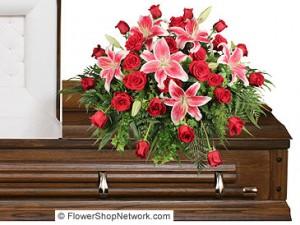 """""""Dedication Of Love"""" Casket Flowers Example"""