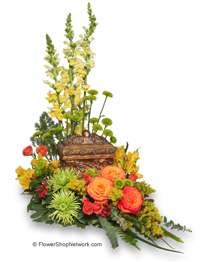 """""""Meaningful Memorial"""" Cremation Flowers Example"""